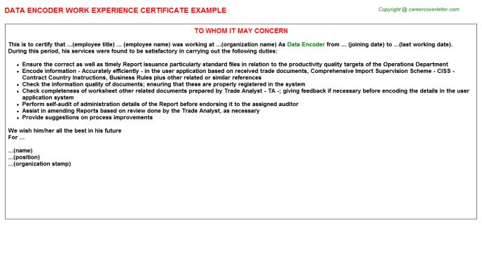 Data Encoder Work Experience Certificate