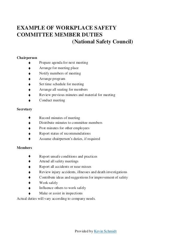 Sample Safety Committee Layout  Meeting Program Sample