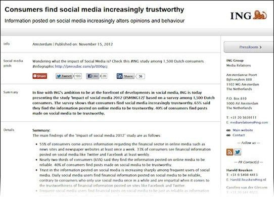 Good example of a social media press release from ING ...