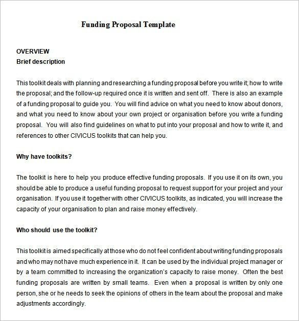 Funding Proposal Template – 12+ Free Sample, Example, Format ...