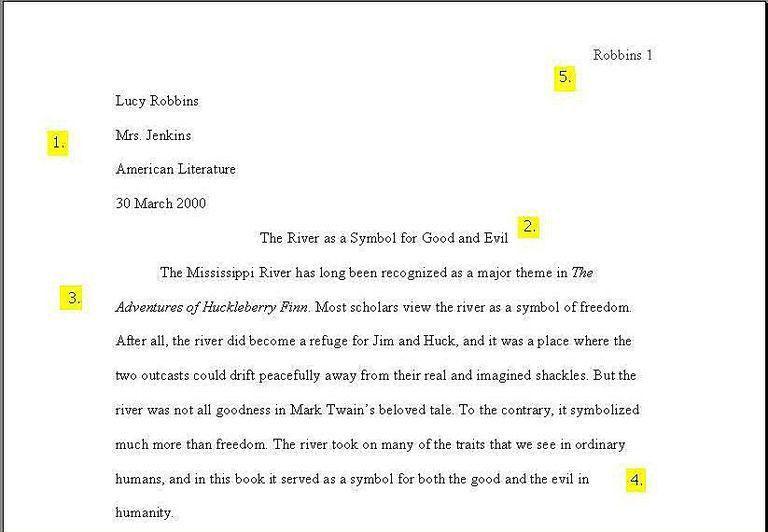 essay mla format examples