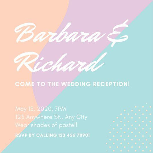Pastel Abstract Shapes Wedding Reception Invitation - Templates by ...