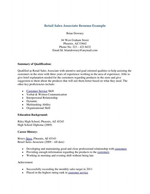 Resume For Sales Associate With No Experience | Samples Of Resumes