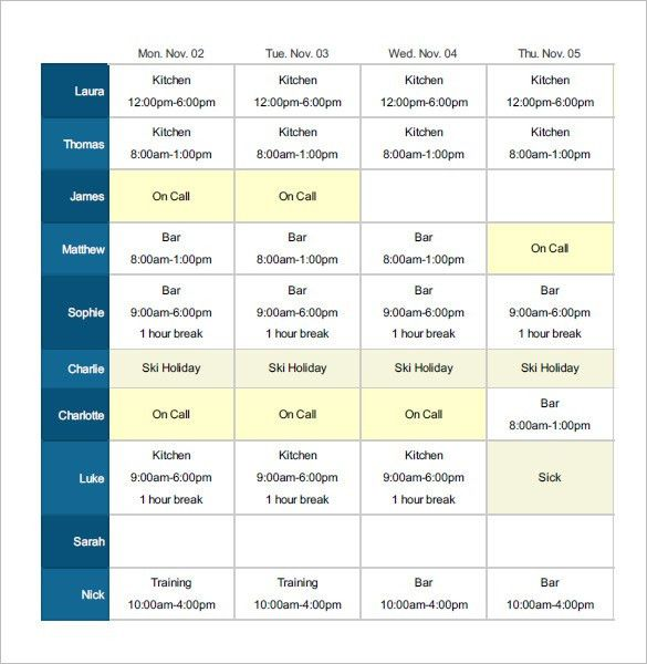 Employee Shift Schedule Template - 8+ Free Word, Excel, PDF Format ...