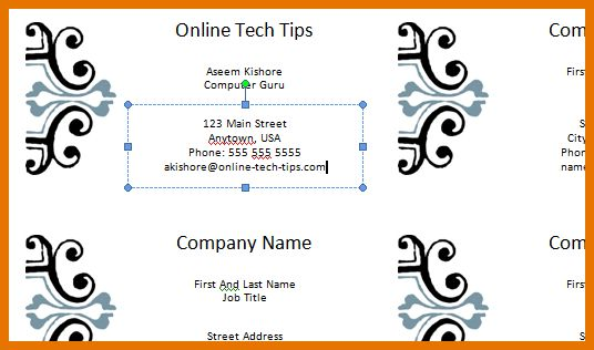 8+ business cards template word | Itinerary Template Sample