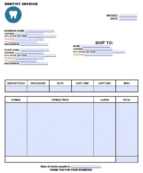 Free Dental Invoice Template | Excel | PDF | Word (.doc)