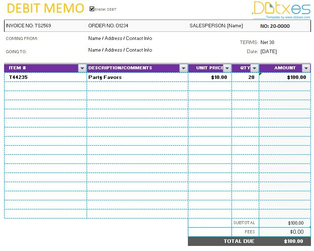 Memo template (Credit & Debit) - Dotxes
