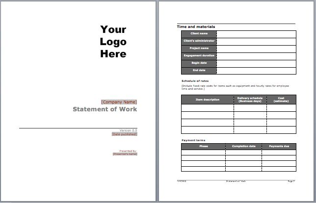 Statement of Work Template | Microsoft Word Templates