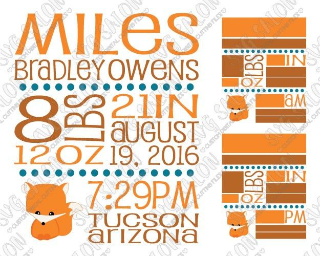 Baby Boy Fox Birth Announcement Template SVG Cut File Set