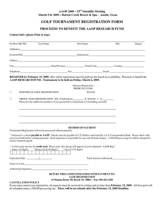 free registration form template | Golf Tournament Registration ...