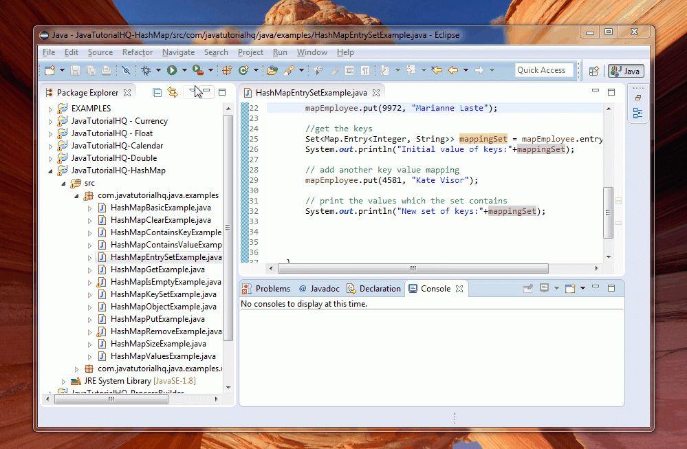 Java HashMap entrySet() method example