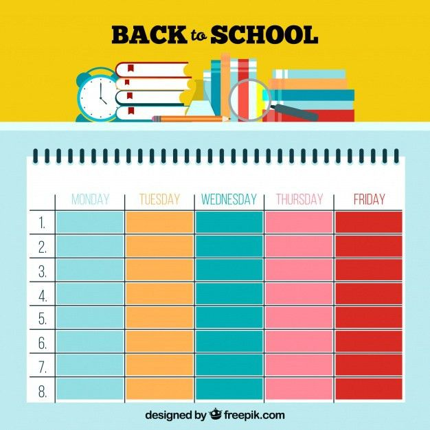Cute colorful school timetable template Vector | Free Download
