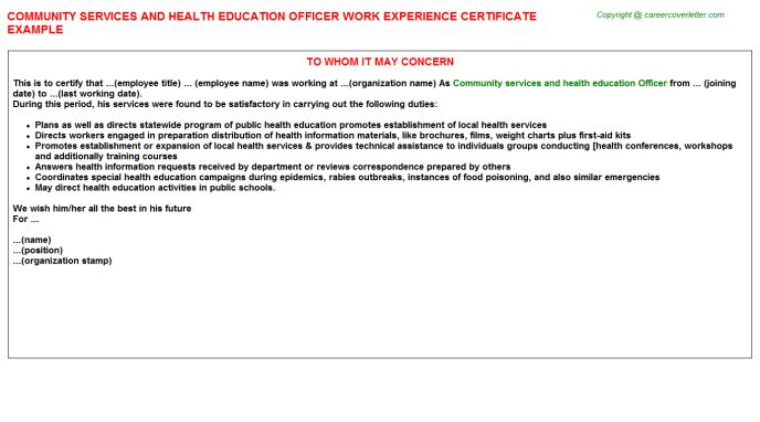 Community Services And Health Education Officer Work Experience ...