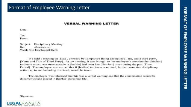 Employee warning letter | format | template | Legalraasta