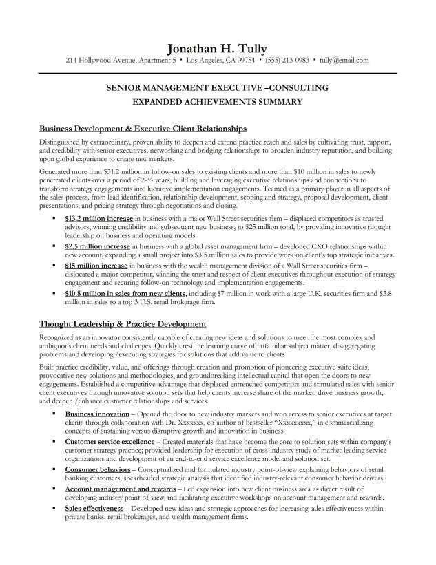 Resume Executive Summary Example | berathen.Com