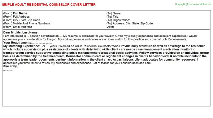 Adult Residential Counselor Cover Letter