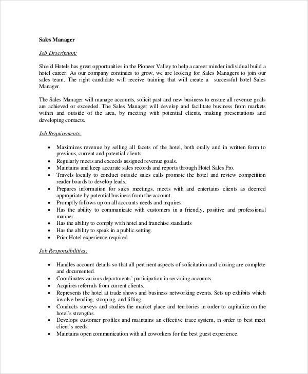 11+ Sales Manager Job Description - Free Sample, Example, Format ...