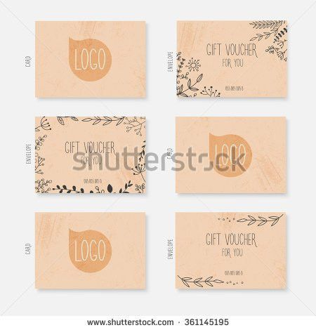Vector Gift Voucher Card Template Hand Stock Vector 361145195 ...