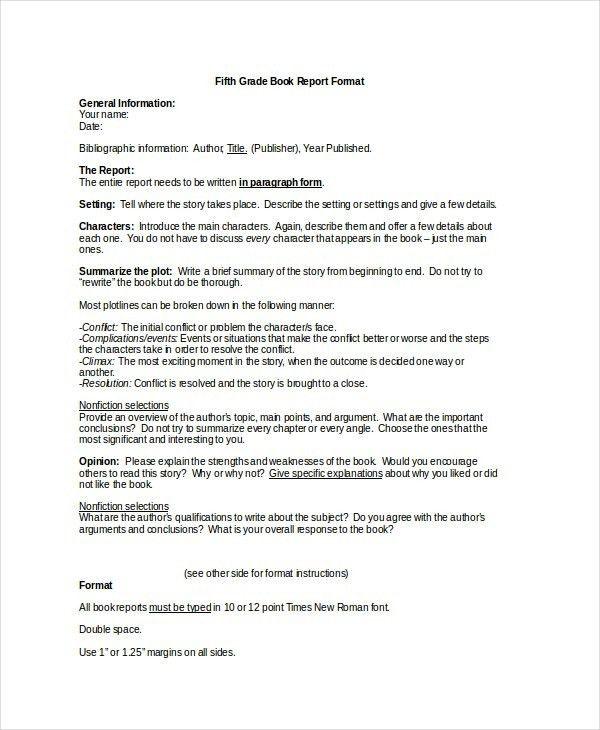 5Th Grade Book Report Template   Template Idea