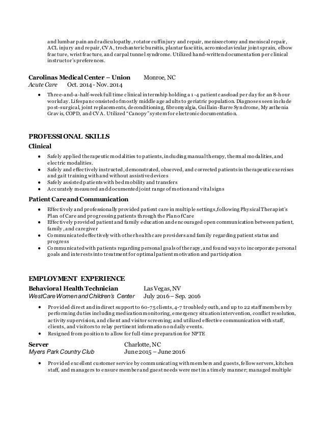 Jennifer Parker Entry-Level PTA Resume