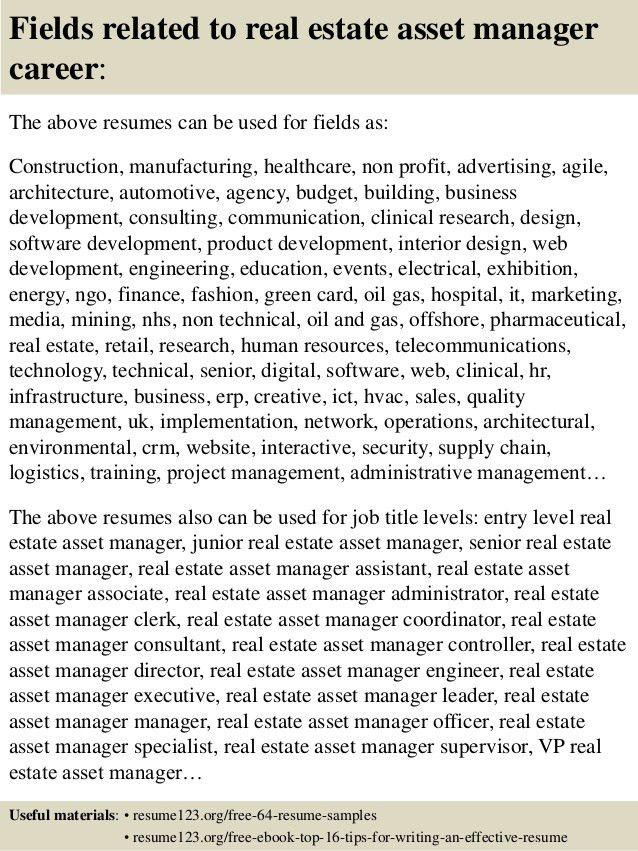 asset management resume sample