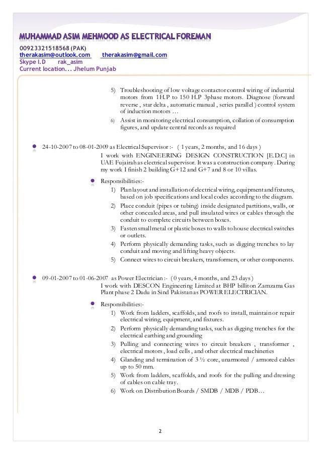 Low voltage electrician resume