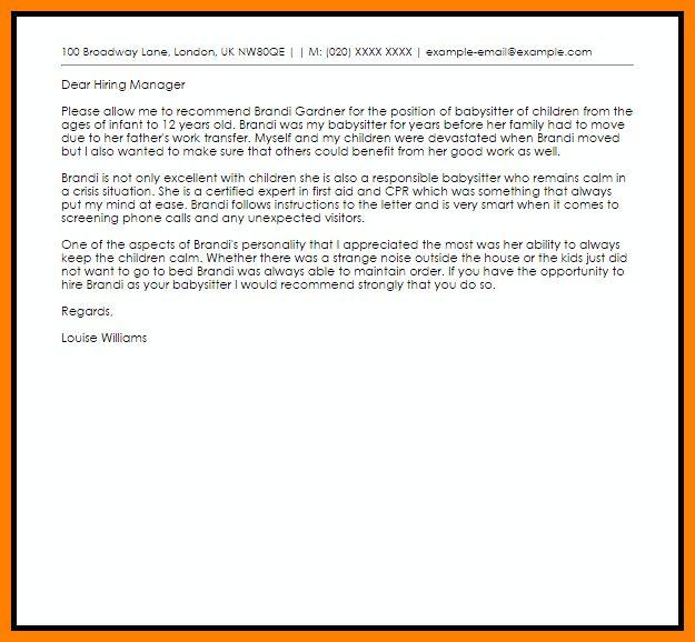 4+ recommendation letter for a babysitter | job resumed