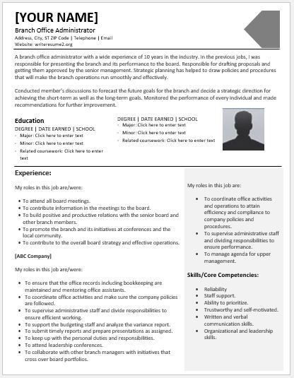Branch Office Administrator Resumes for MS Word | Resume Templates
