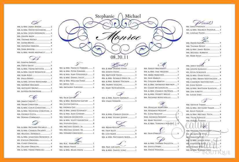 wedding seating chart template excel