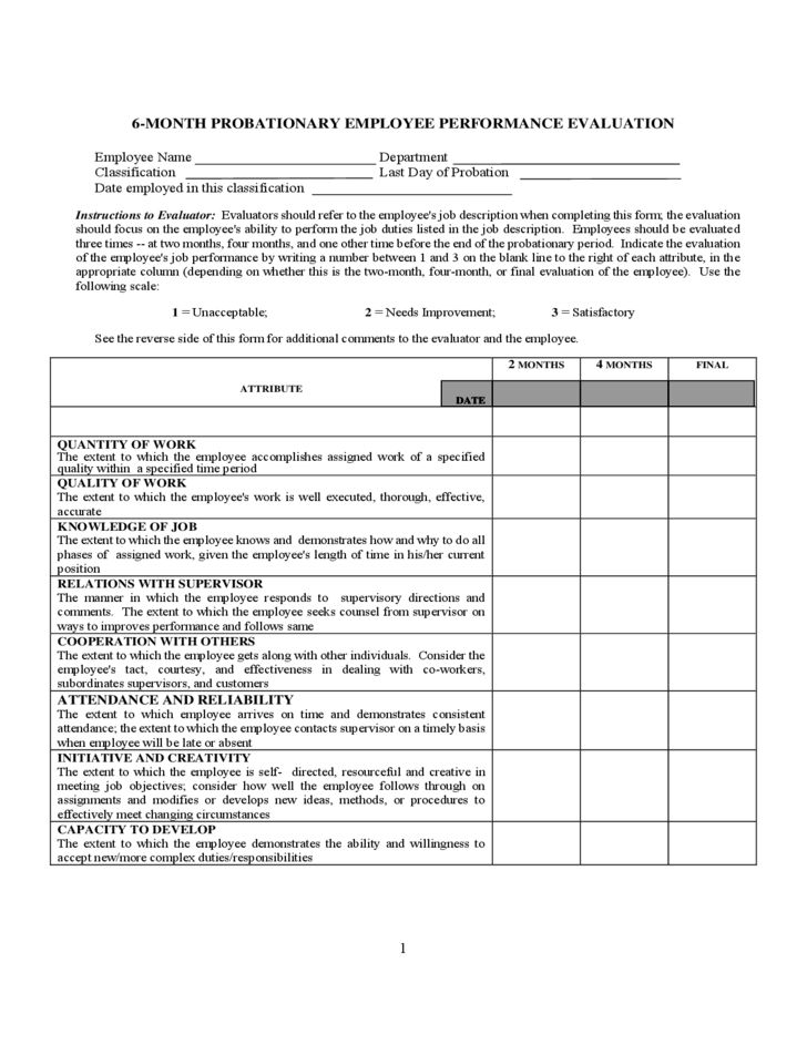 Probationary Employee Performance Evaluation Form Free Download