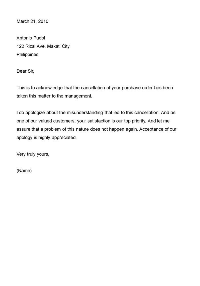 Business Apology Letter - This type of business apology letter ...