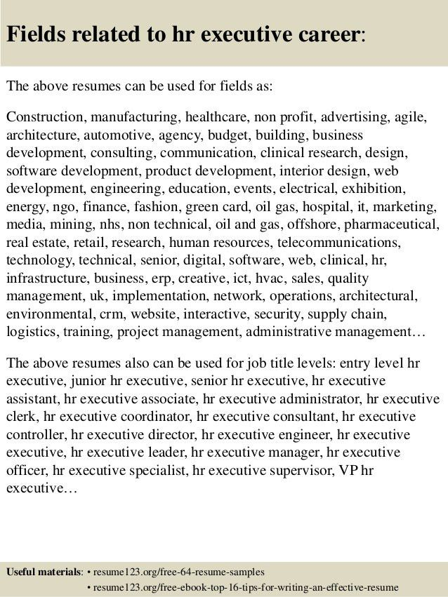 resume sample human resources executive page 2. sample resume for ...