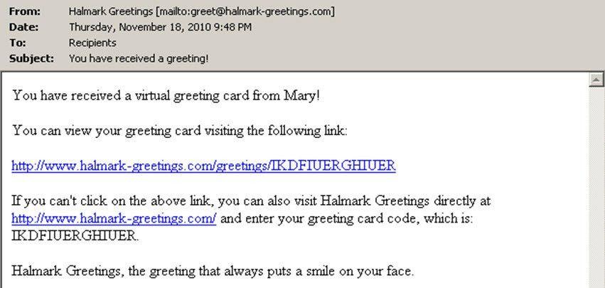 "Not a ""Halmark"" Greetings Card"