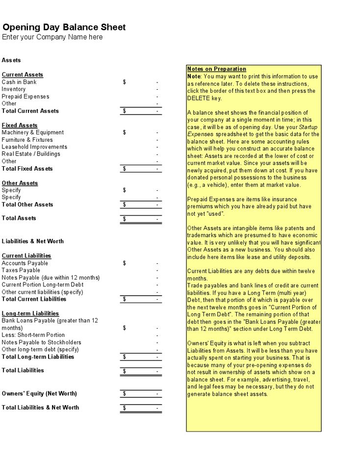 Opening Day Balance Sheet Template - Hashdoc