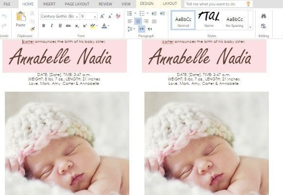 How To Make Child Birth Announcement Cards in Word