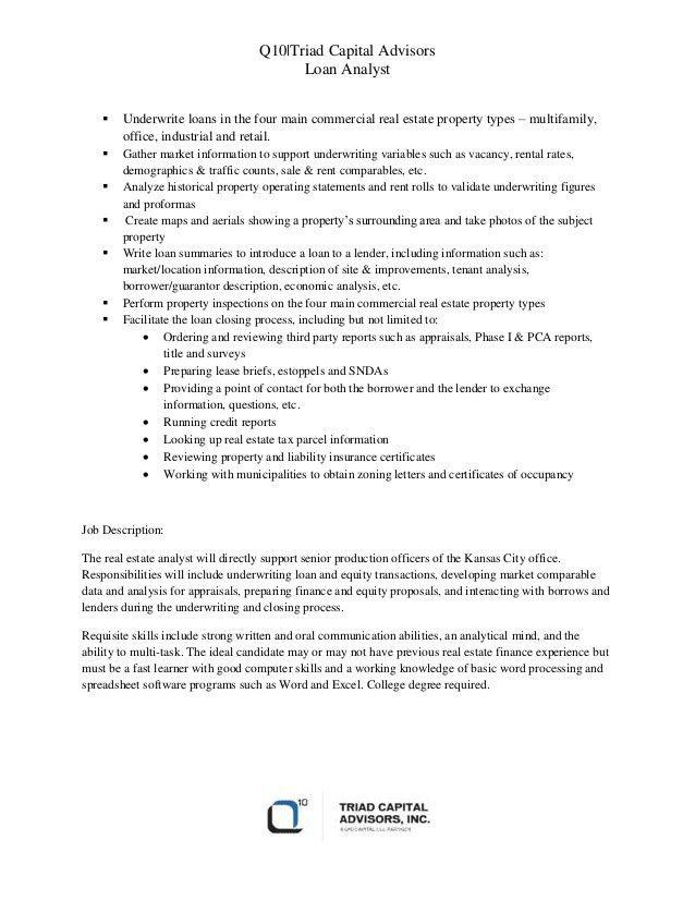 Triad Capital Advisors - Loan Analyst Daily Activities & Job Descript…