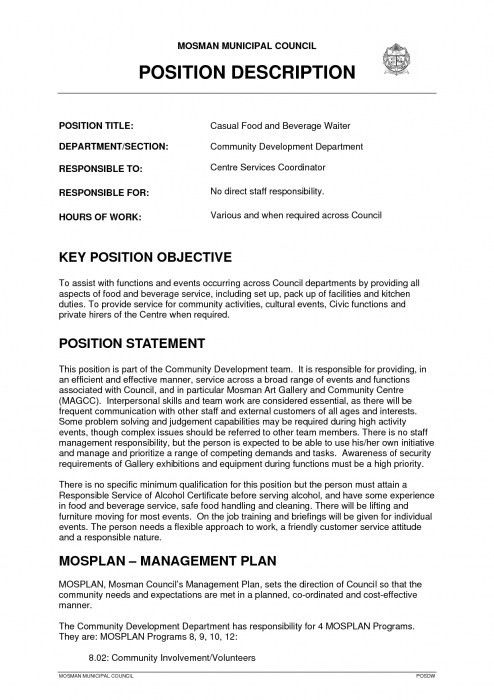 stylish banquet server job description for resume resume format web