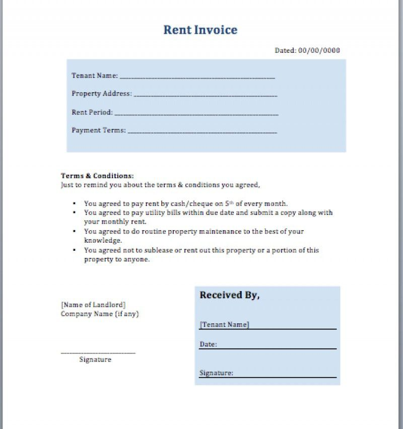 Invoice For Rent, 10 recipet template | free invoice template #99 ...