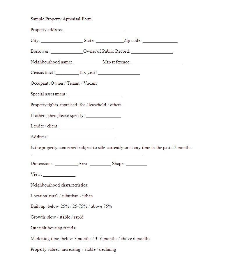Property Appraisal Form Template