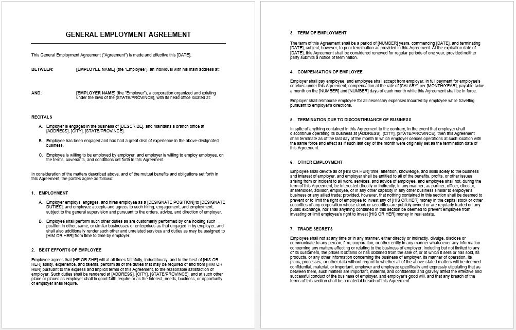 General Agreement Template | Microsoft Word Templates