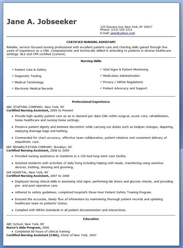 Free Sample Certified Nursing Assistant Resume | Creative Resume ...