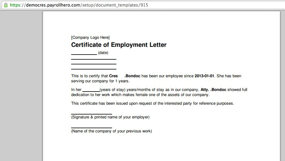 Can PayrollHero Generate a Certificate of Employment ...