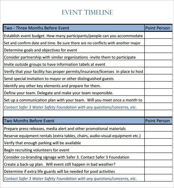 9+ Event Timeline Templates – Free Sample, Example, Format ...