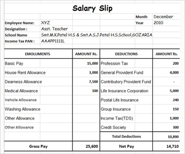Salary Slip Format - Free Word, PDF Documents Download | Creative ...