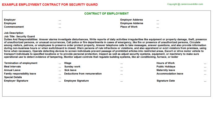 Security Guard Employment Contracts