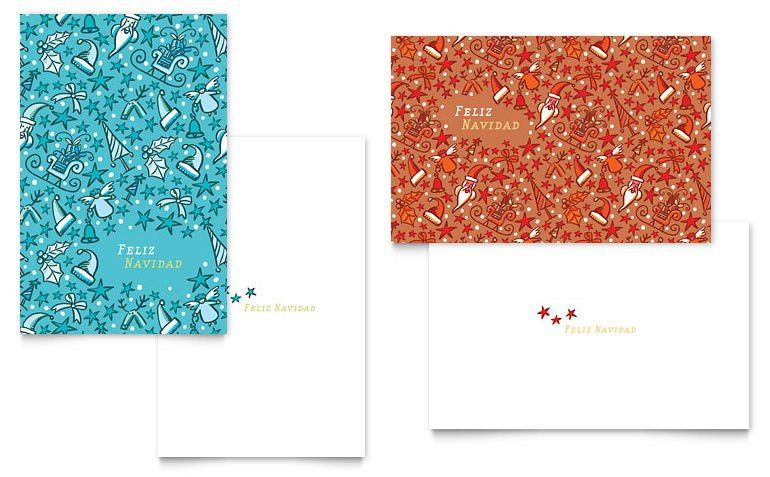 Christmas Confetti Greeting Card Template - Word & Publisher