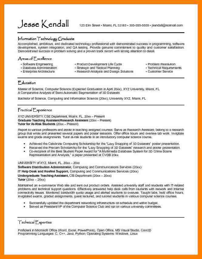 Resume Examples Of Graduate Students - Templates