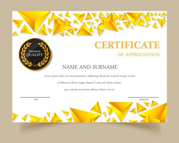 Certificate template gold design Vector | Free Download