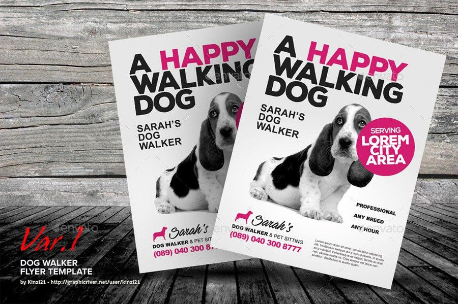Dog Walker Flyer Templates by kinzi21 | GraphicRiver