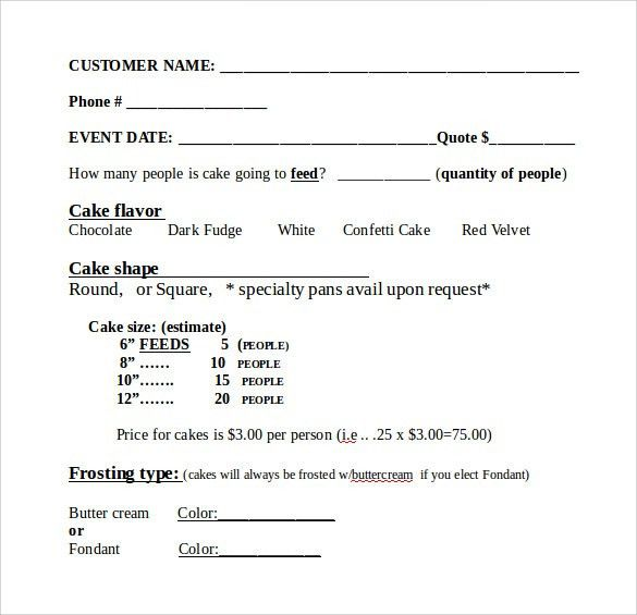 Sample Cake Order Form Template - 13+ Free Documents Download in ...